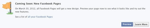Facebook Timeline For Pages Preview Button